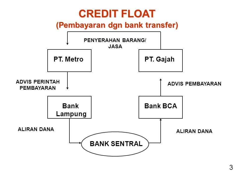 CREDIT FLOAT (Pembayaran dgn bank transfer) ALIRAN DANA PT.