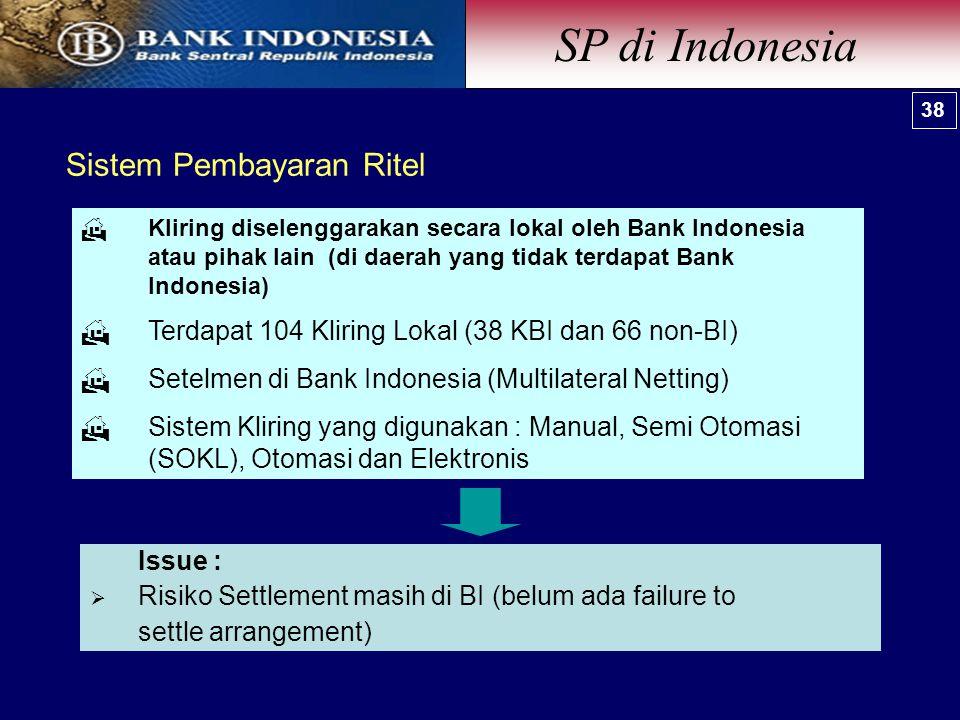 Sistem Pembayaran Ritel  Kliring diselenggarakan secara lokal oleh Bank Indonesia atau pihak lain (di daerah yang tidak terdapat Bank Indonesia)  Terdapat 104 Kliring Lokal (38 KBI dan 66 non-BI)  Setelmen di Bank Indonesia (Multilateral Netting)  Sistem Kliring yang digunakan : Manual, Semi Otomasi (SOKL), Otomasi dan Elektronis Issue :  Risiko Settlement masih di BI (belum ada failure to settle arrangement) 38 SP di Indonesia 38