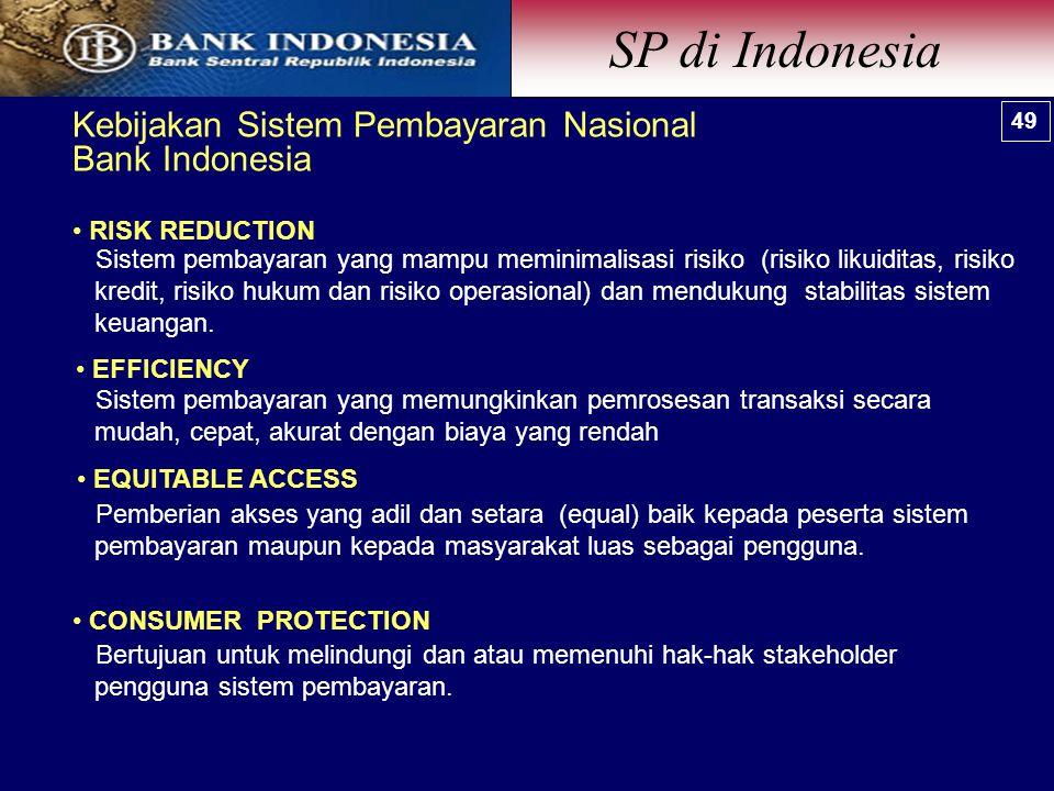 Kebijakan Sistem Pembayaran Nasional Bank Indonesia RISK REDUCTION EFFICIENCY CONSUMER PROTECTION EQUITABLE ACCESS Sistem pembayaran yang memungkinkan pemrosesan transaksi secara mudah, cepat, akurat dengan biaya yang rendah Pemberian akses yang adil dan setara (equal) baik kepada peserta sistem pembayaran maupun kepada masyarakat luas sebagai pengguna.
