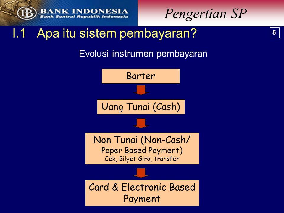 Barter Card & Electronic Based Payment Non Tunai (Non-Cash/ Paper Based Payment) Cek, Bilyet Giro, transfer Uang Tunai (Cash) Evolusi instrumen pembayaran I.1 Apa itu sistem pembayaran.