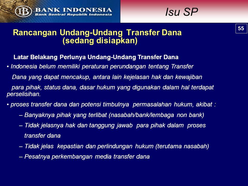 Rancangan Undang-Undang Transfer Dana (sedang disiapkan) Indonesia belum memiliki peraturan perundangan tentang Transfer Dana yang dapat mencakup, antara lain kejelasan hak dan kewajiban para pihak, status dana, dasar hukum yang digunakan dalam hal terdapat perselisihan.