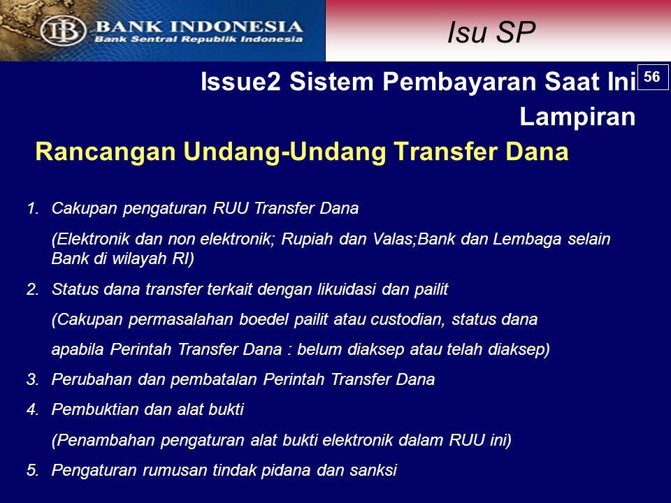 Rancangan Undang-Undang Transfer Dana 1.Cakupan pengaturan RUU Transfer Dana (Elektronik dan non elektronik; Rupiah dan Valas;Bank dan Lembaga selain Bank di wilayah RI) 2.