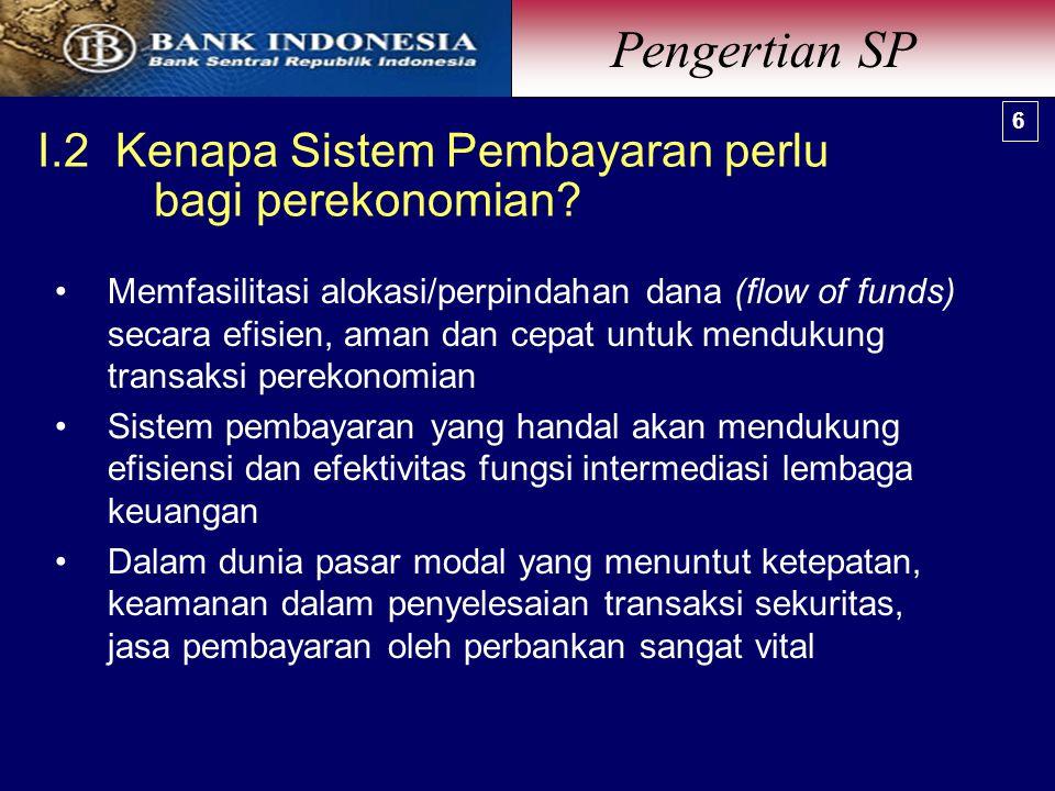 I.2 Kenapa Sistem Pembayaran perlu bagi perekonomian.