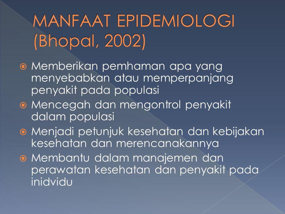  Memberikan pemhaman apa yang menyebabkan atau memperpanjang penyakit pada populasi  Mencegah dan mengontrol penyakit dalam populasi  Menjadi petunjuk kesehatan dan kebijakan kesehatan dan merencanakannya  Membantu dalam manajemen dan perawatan kesehatan dan penyakit pada inidvidu