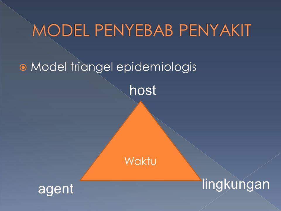  Model triangel epidemiologis Waktu host lingkungan agent