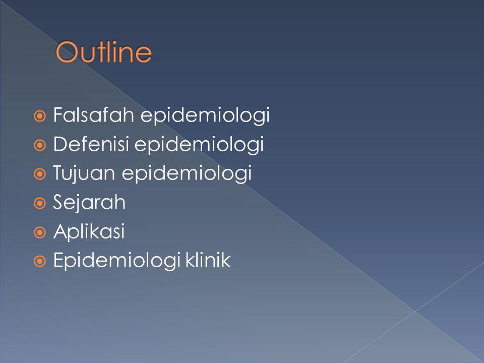  Falsafah epidemiologi  Defenisi epidemiologi  Tujuan epidemiologi  Sejarah  Aplikasi  Epidemiologi klinik