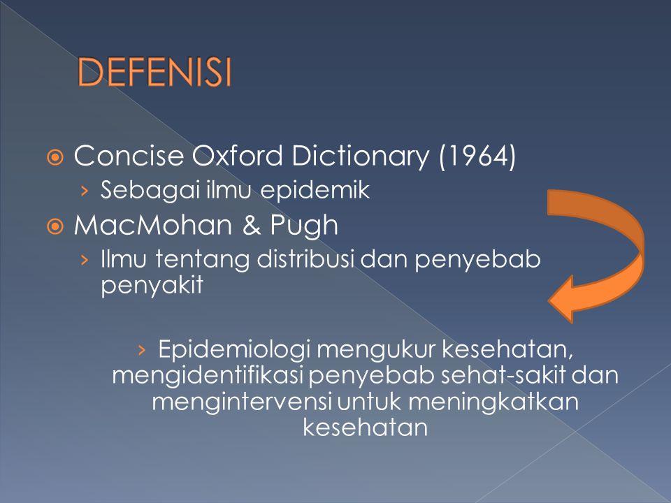  Concise Oxford Dictionary (1964) › Sebagai ilmu epidemik  MacMohan & Pugh › Ilmu tentang distribusi dan penyebab penyakit › Epidemiologi mengukur kesehatan, mengidentifikasi penyebab sehat-sakit dan mengintervensi untuk meningkatkan kesehatan