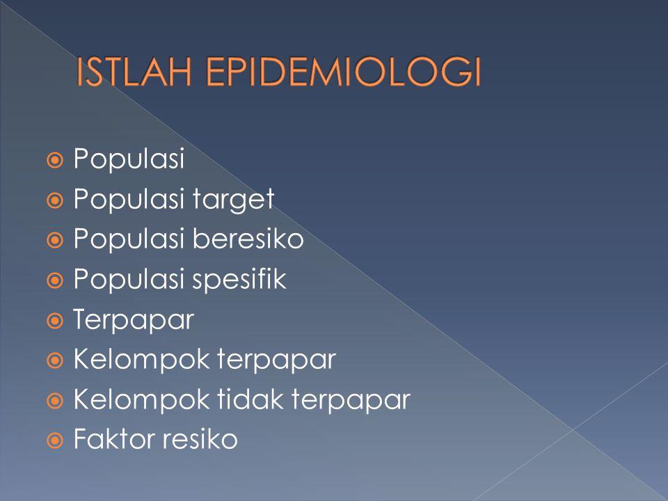  Populasi  Populasi target  Populasi beresiko  Populasi spesifik  Terpapar  Kelompok terpapar  Kelompok tidak terpapar  Faktor resiko