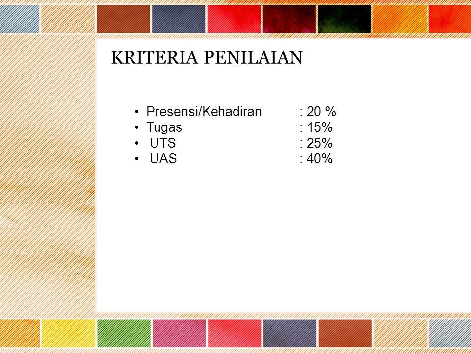 KRITERIA PENILAIAN Presensi/Kehadiran: 20 % Tugas: 15% UTS: 25% UAS: 40%