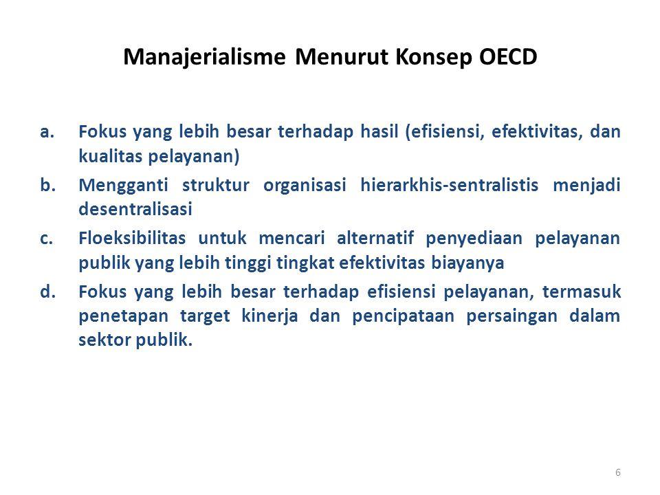 6 Manajerialisme Menurut Konsep OECD a.Fokus yang lebih besar terhadap hasil (efisiensi, efektivitas, dan kualitas pelayanan) b.Mengganti struktur org