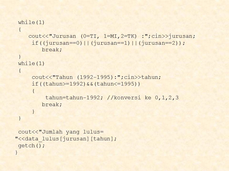 while(1) { cout >jurusan; if((jurusan==0)  (jurusan==1)  (jurusan==2)); break; } while(1) { cout >tahun; if((tahun>=1992)&&(tahun<=1995)) { tahun=tahu