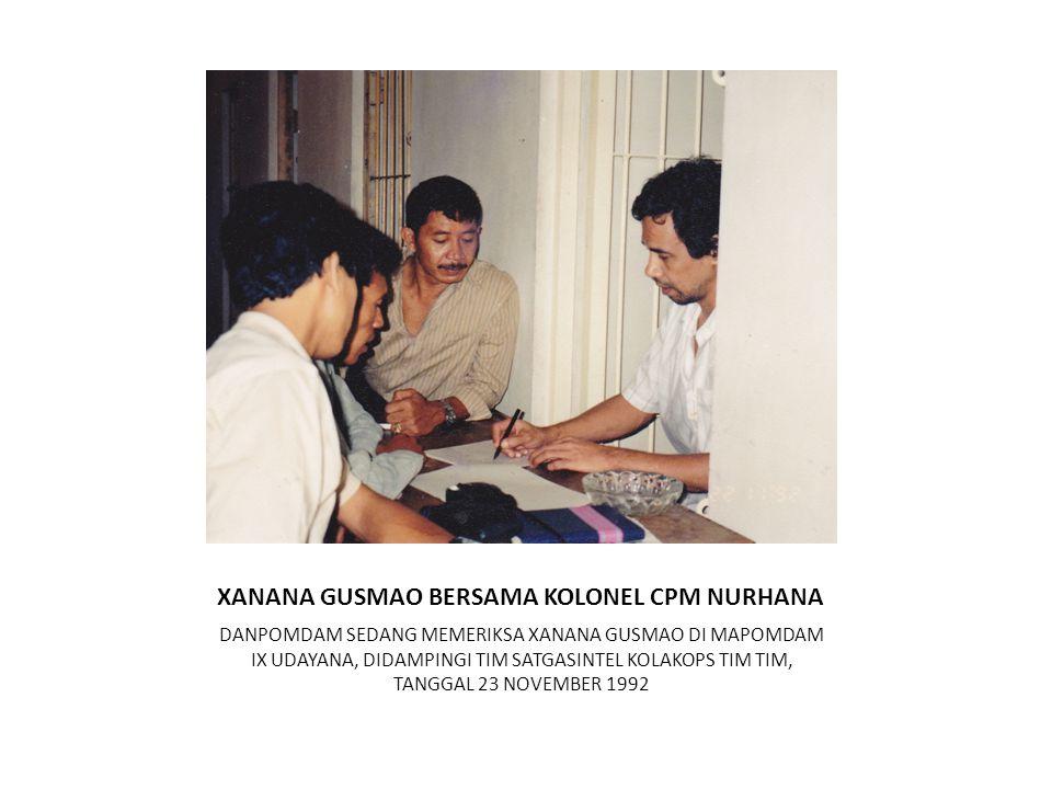 XANANA GUSMAO BERSAMA KOLONEL CPM NURHANA DANPOMDAM SEDANG MEMERIKSA XANANA GUSMAO DI MAPOMDAM IX UDAYANA, DIDAMPINGI TIM SATGASINTEL KOLAKOPS TIM TIM, TANGGAL 23 NOVEMBER 1992