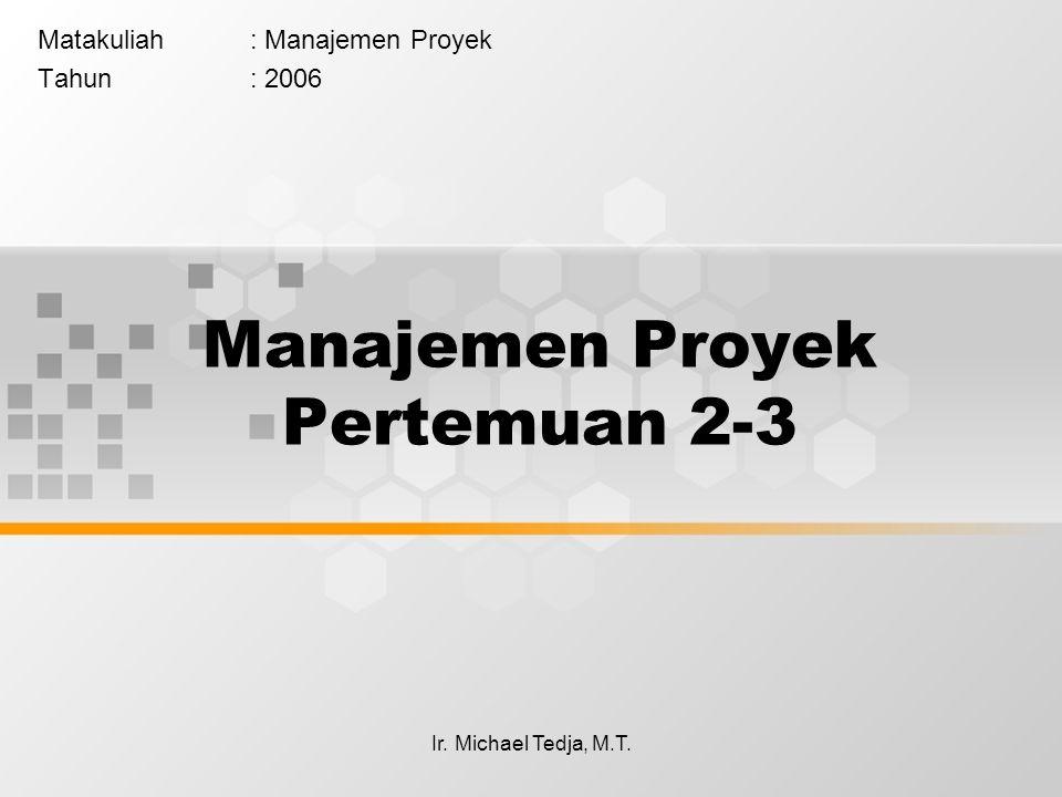 Ir. Michael Tedja, M.T. Manajemen Proyek Pertemuan 2-3 Matakuliah: Manajemen Proyek Tahun: 2006