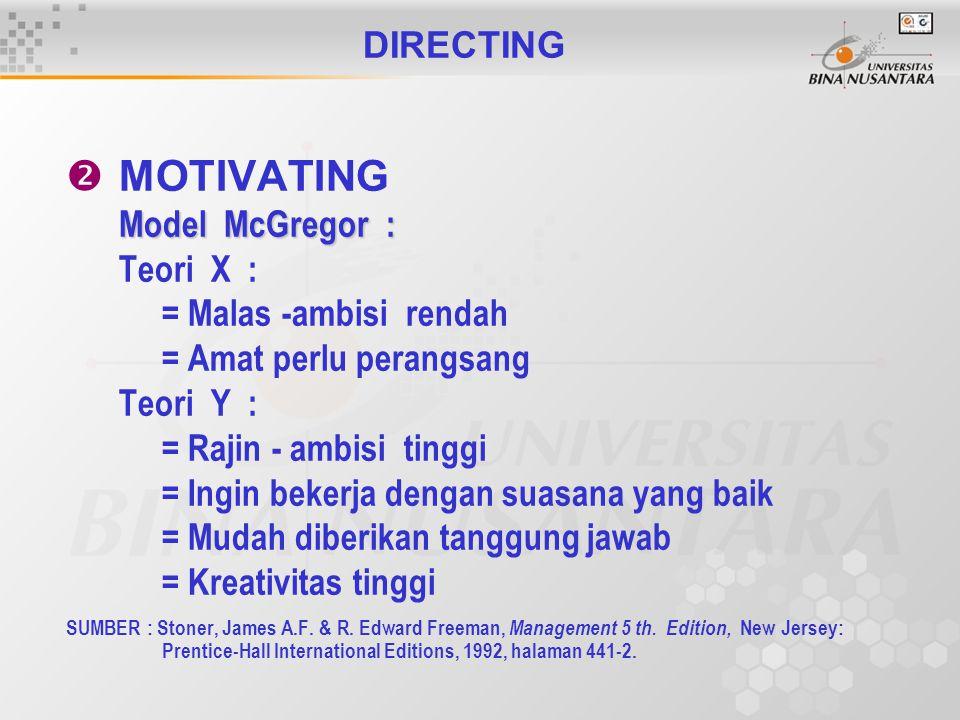 DIRECTING  MOTIVATING Model McGregor : Teori X : = Malas -ambisi rendah = Amat perlu perangsang Teori Y : = Rajin - ambisi tinggi = Ingin bekerja dengan suasana yang baik = Mudah diberikan tanggung jawab = Kreativitas tinggi SUMBER : Stoner, James A.F.