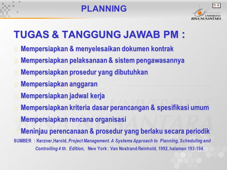 PLANNING TUGAS & TANGGUNG JAWAB PM : 3 Mempersiapkan & menyelesaikan dokumen kontrak 3 Mempersiapkan pelaksanaan & sistem pengawasannya 3 Mempersiapkan prosedur yang dibutuhkan 3 Mempersiapkan anggaran 3 Mempersiapkan jadwal kerja 3 Mempersiapkan kriteria dasar perancangan & spesifikasi umum 3 Mempersiapkan rencana organisasi 3 Meninjau perencanaan & prosedur yang berlaku secara periodik SUMBER : Kerzner,Harold, Project Management.