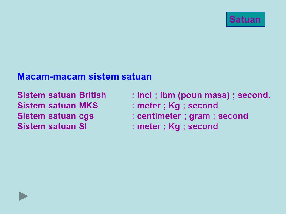 Satuan Sistem satuan British : inci ; lbm (poun masa) ; second. Sistem satuan MKS: meter ; Kg ; second Sistem satuan cgs: centimeter ; gram ; second S