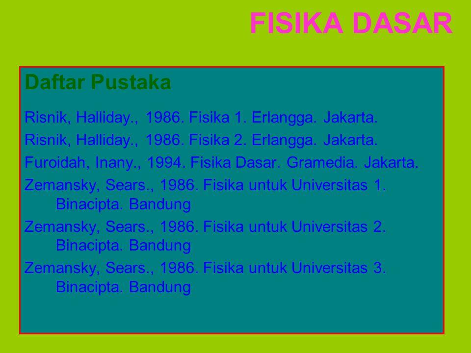 FISIKA DASAR Daftar Pustaka Risnik, Halliday., 1986. Fisika 1. Erlangga. Jakarta. Risnik, Halliday., 1986. Fisika 2. Erlangga. Jakarta. Furoidah, Inan