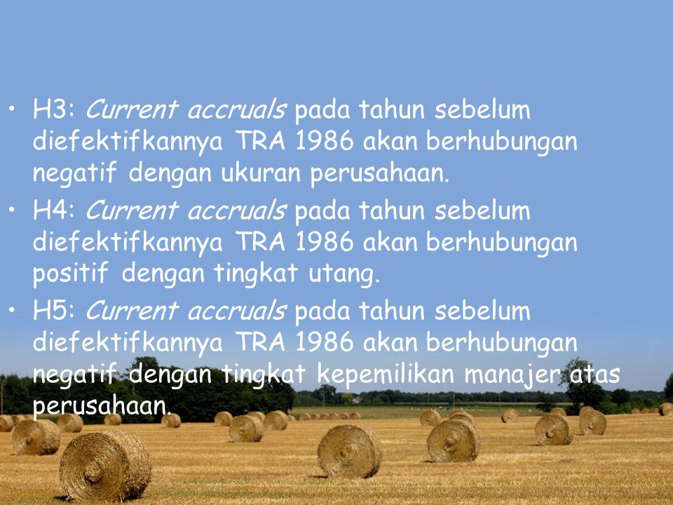 H3: Current accruals pada tahun sebelum diefektifkannya TRA 1986 akan berhubungan negatif dengan ukuran perusahaan.