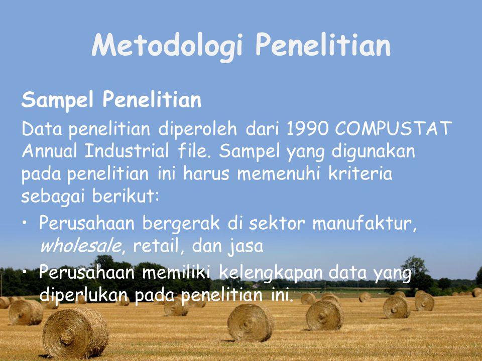 Metodologi Penelitian Sampel Penelitian Data penelitian diperoleh dari 1990 COMPUSTAT Annual Industrial file.