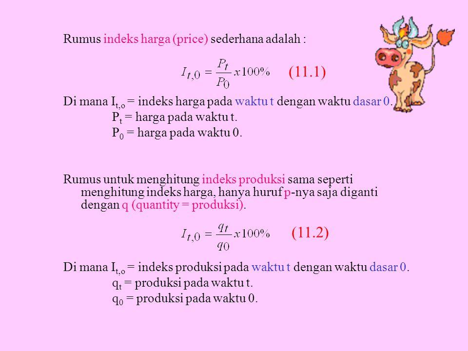 Rumus indeks harga (price) sederhana adalah : Di mana I t,o = indeks harga pada waktu t dengan waktu dasar 0. P t = harga pada waktu t. P 0 = harga pa