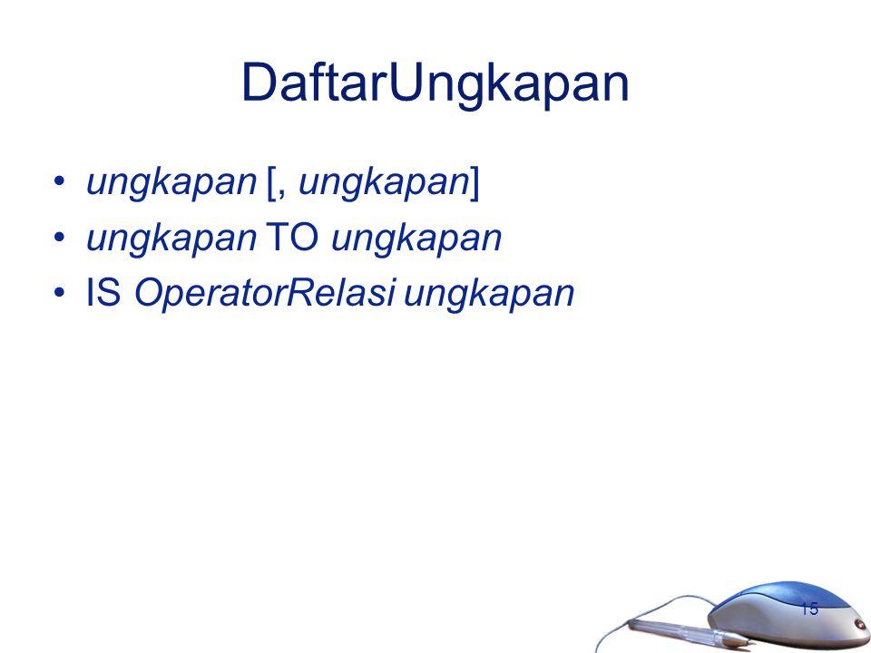 15 DaftarUngkapan ungkapan [, ungkapan] ungkapan TO ungkapan IS OperatorRelasi ungkapan