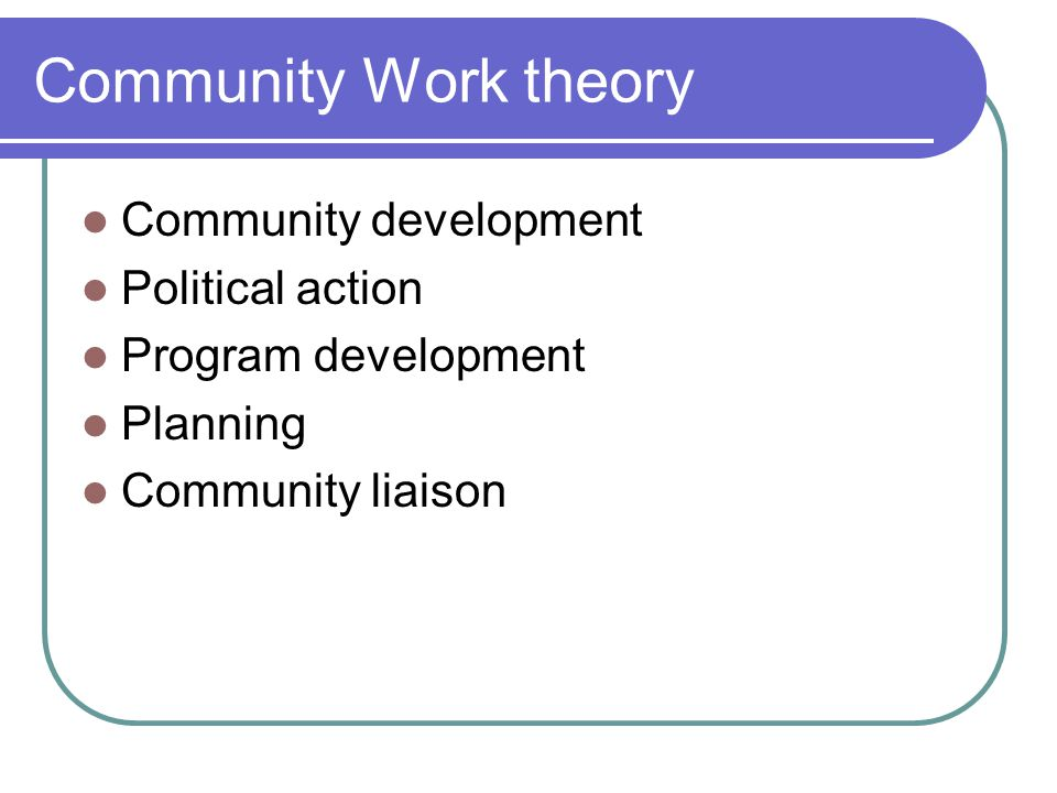 Community Work theory Community development Political action Program development Planning Community liaison