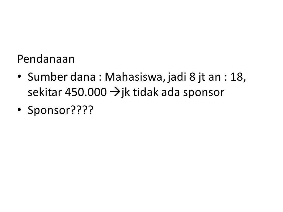 Pendanaan Sumber dana : Mahasiswa, jadi 8 jt an : 18, sekitar 450.000  jk tidak ada sponsor Sponsor