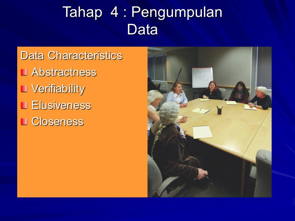 Tahap 4 : Pengumpulan Data Data Characteristics AbstractnessVerifiabilityElusivenessCloseness