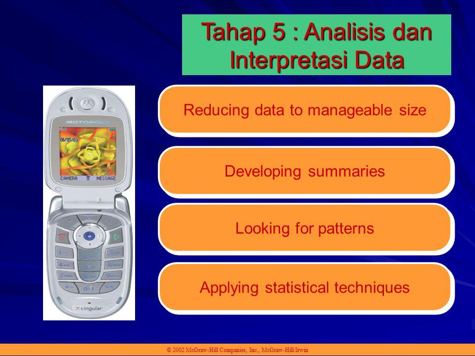 Reducing data to manageable size © 2002 McGraw-Hill Companies, Inc., McGraw-Hill/Irwin Tahap 5 : Analisis dan Interpretasi Data Developing summaries L
