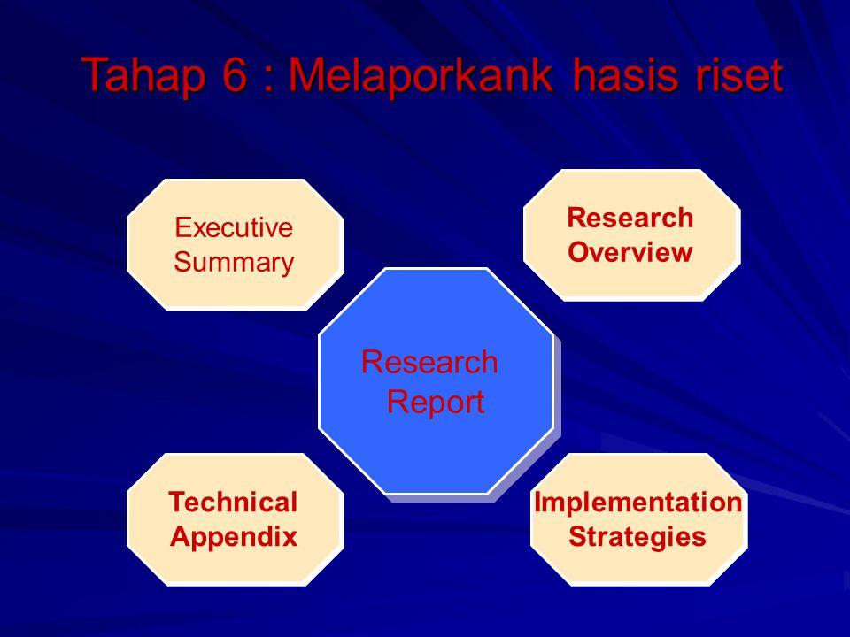 Tahap 6 : Melaporkank hasis riset Research Report Research Report Executive Summary Executive Summary Research Overview Research Overview Technical Ap