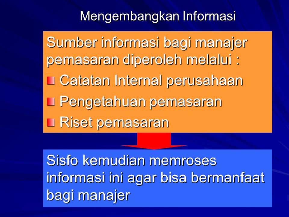 Mengembangkan Informasi Sumber informasi bagi manajer pemasaran diperoleh melalui : Catatan Internal perusahaan Catatan Internal perusahaan Pengetahuan pemasaran Pengetahuan pemasaran Riset pemasaran Riset pemasaran Sisfo kemudian memroses informasi ini agar bisa bermanfaat bagi manajer