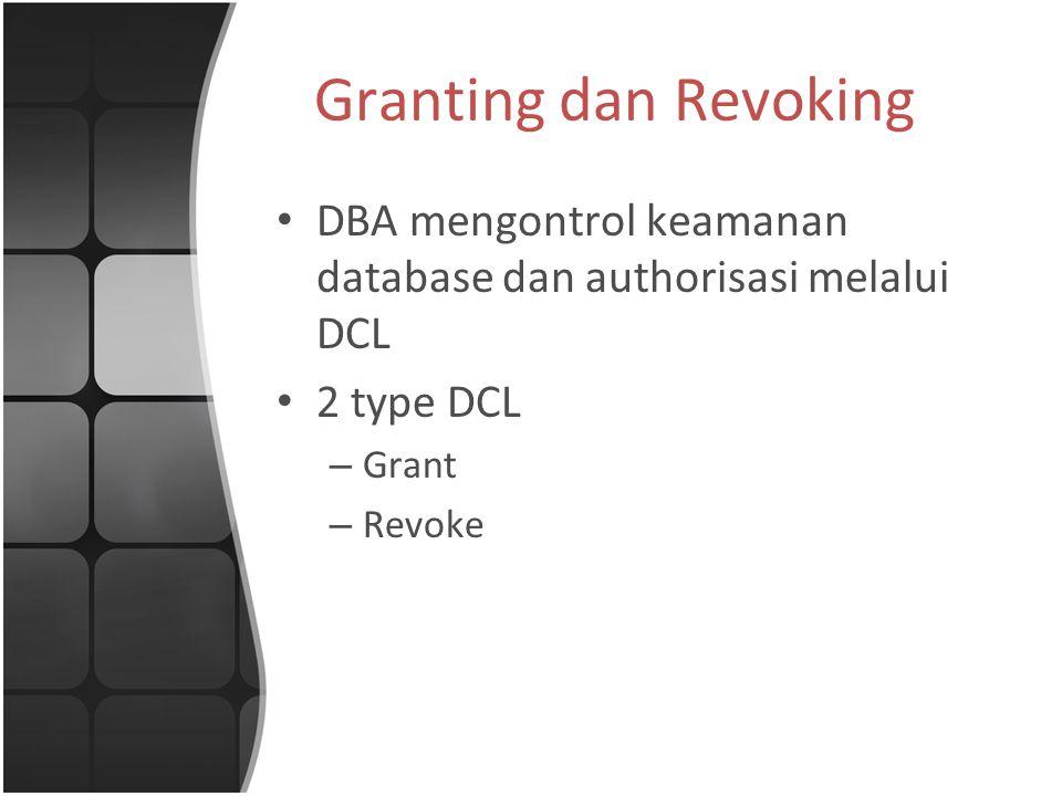 Granting dan Revoking DBA mengontrol keamanan database dan authorisasi melalui DCL 2 type DCL – Grant – Revoke