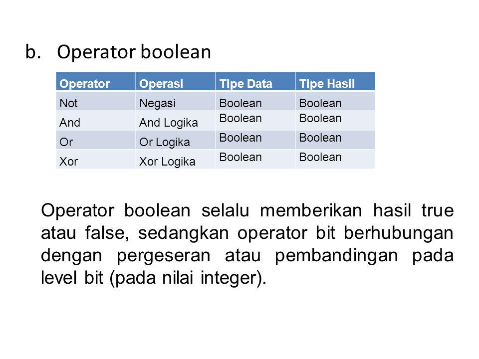 b. Operator boolean OperatorOperasiTipe DataTipe Hasil NotNegasiBoolean AndAnd Logika Boolean OrOr Logika Boolean XorXor Logika Boolean Operator boole
