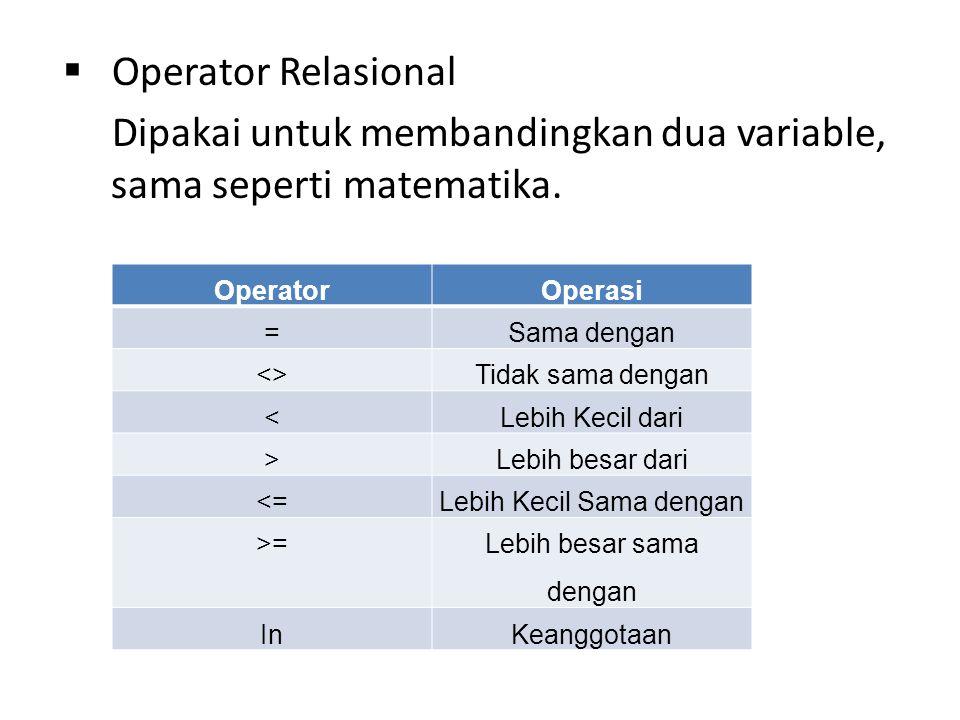  Operator Relasional Dipakai untuk membandingkan dua variable, sama seperti matematika.
