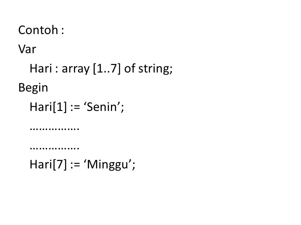 Contoh : Var Hari : array [1..7] of string; Begin Hari[1] := 'Senin'; ……………. Hari[7] := 'Minggu';