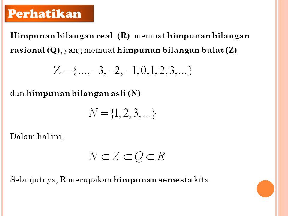 Perhatikan Himpunan bilangan real (R) memuat himpunan bilangan rasional (Q), yang memuat himpunan bilangan bulat (Z) dan himpunan bilangan asli (N) Da