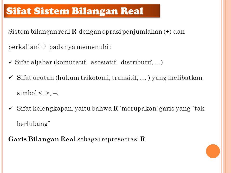 Sistem bilangan real R dengan oprasi penjumlahan (+) dan perkalian padanya memenuhi : Sifat aljabar (komutatif, asosiatif, distributif, …) Sifat uruta
