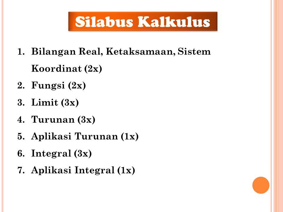 Silabus Kalkulus 1.Bilangan Real, Ketaksamaan, Sistem Koordinat (2x) 2.Fungsi (2x) 3.Limit (3x) 4.Turunan (3x) 5.Aplikasi Turunan (1x) 6.Integral (3x)