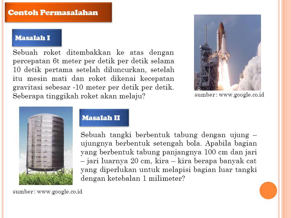 Contoh Permasalahan Sebuah roket ditembakkan ke atas dengan percepatan 6t meter per detik per detik selama 10 detik pertama setelah diluncurkan, setel