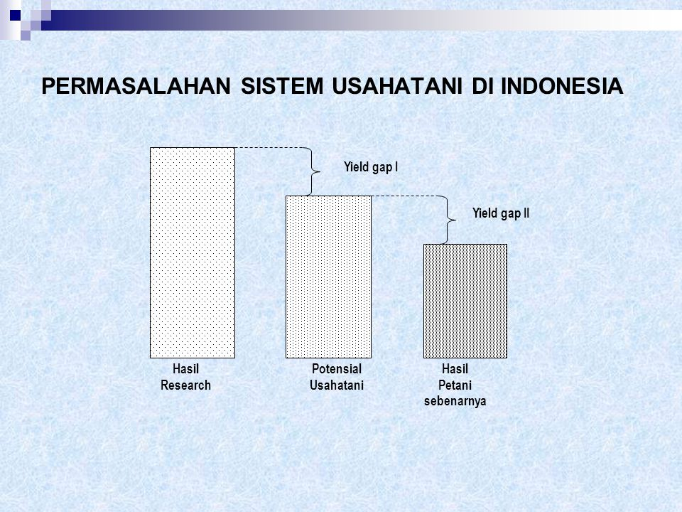 PERMASALAHAN SISTEM USAHATANI DI INDONESIA Hasil Research Potensial Usahatani Hasil Petani sebenarnya Yield gap I Yield gap II