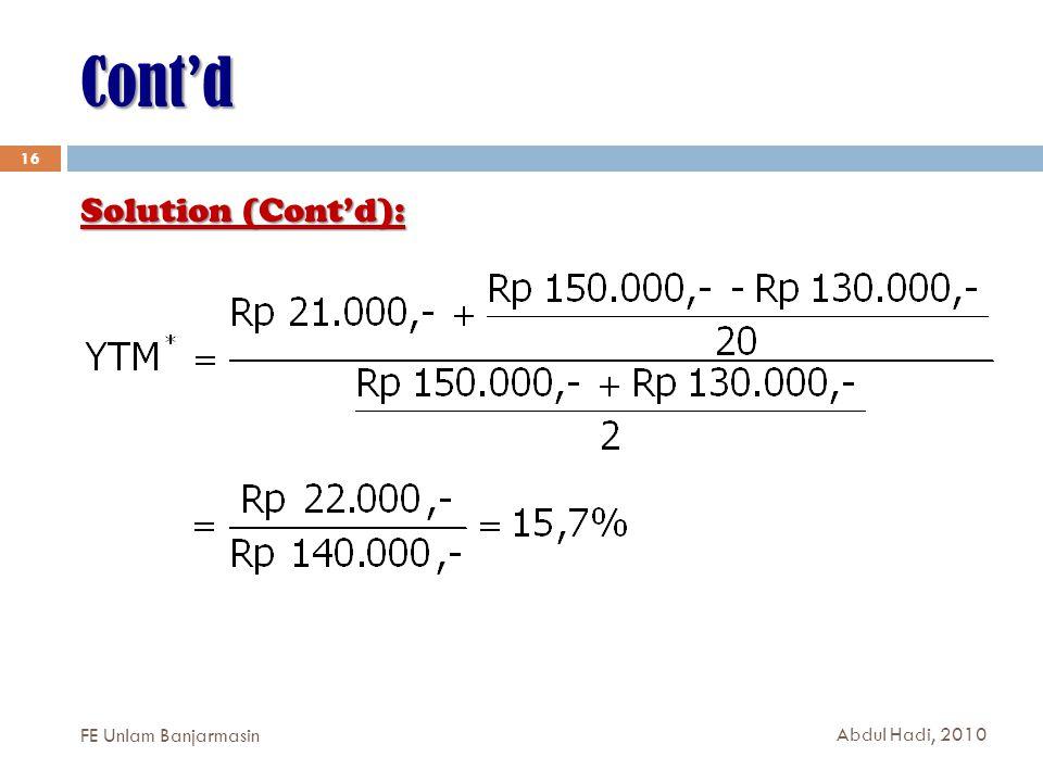 Cont'd 16 Solution (Cont'd): FE Unlam Banjarmasin Abdul Hadi, 2010