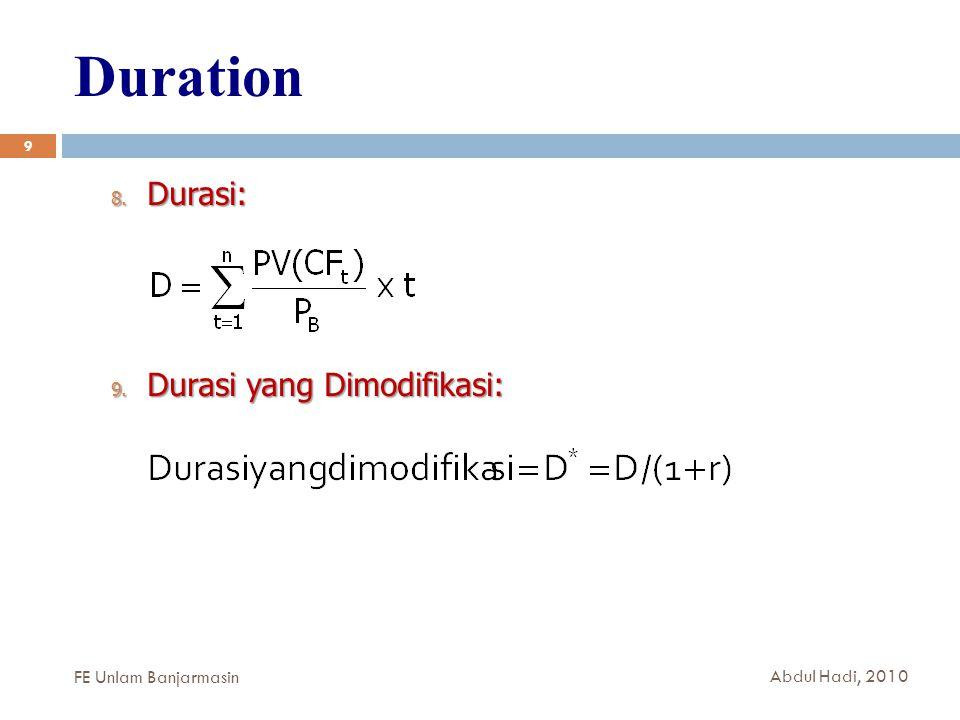 Duration 9 8. Durasi: 9. Durasi yang Dimodifikasi: FE Unlam Banjarmasin Abdul Hadi, 2010