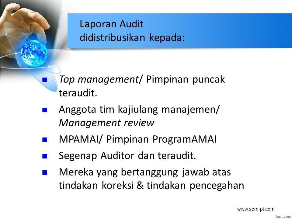 Laporan Audit didistribusikan kepada: Top management/ Pimpinan puncak teraudit. Anggota tim kajiulang manajemen/ Management review MPAMAI/ Pimpinan Pr