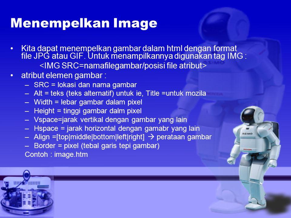 Menempelkan Image Kita dapat menempelkan gambar dalam html dengan format file JPG atau GIF.