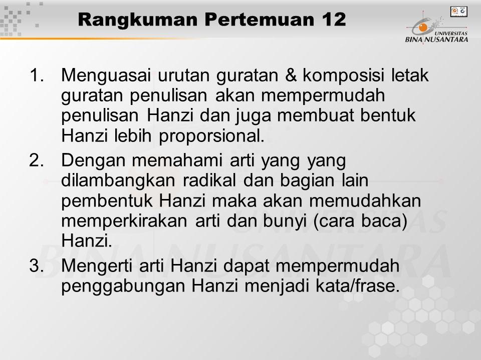Rangkuman Pertemuan 12 1.Menguasai urutan guratan & komposisi letak guratan penulisan akan mempermudah penulisan Hanzi dan juga membuat bentuk Hanzi l