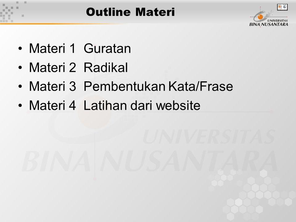 Outline Materi Materi 1 Guratan Materi 2 Radikal Materi 3 Pembentukan Kata/Frase Materi 4 Latihan dari website