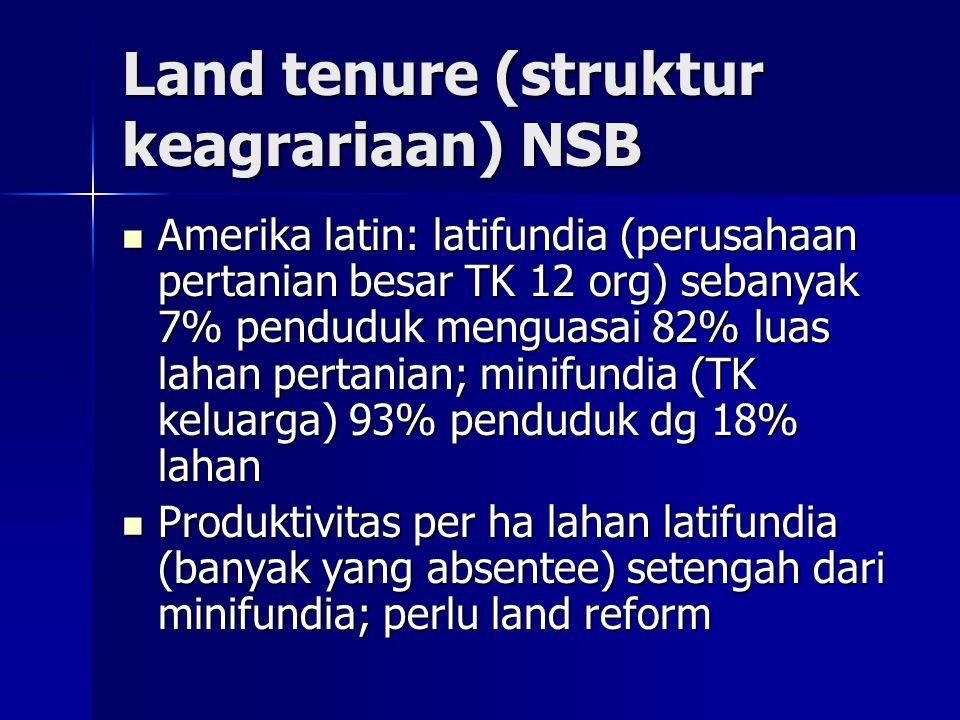 Land tenure (struktur keagrariaan) NSB Amerika latin: latifundia (perusahaan pertanian besar TK 12 org) sebanyak 7% penduduk menguasai 82% luas lahan