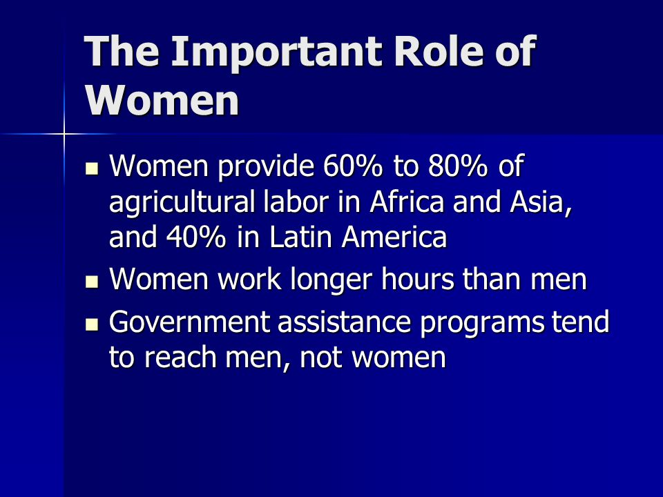 The Important Role of Women Women provide 60% to 80% of agricultural labor in Africa and Asia, and 40% in Latin America Women provide 60% to 80% of ag