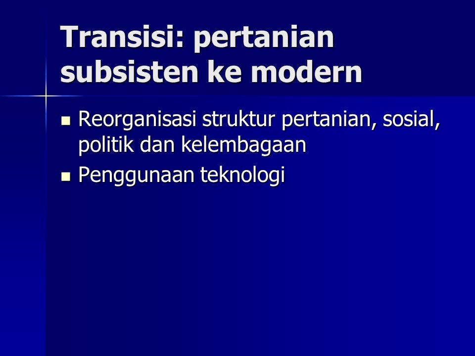 Transisi: pertanian subsisten ke modern Reorganisasi struktur pertanian, sosial, politik dan kelembagaan Reorganisasi struktur pertanian, sosial, poli