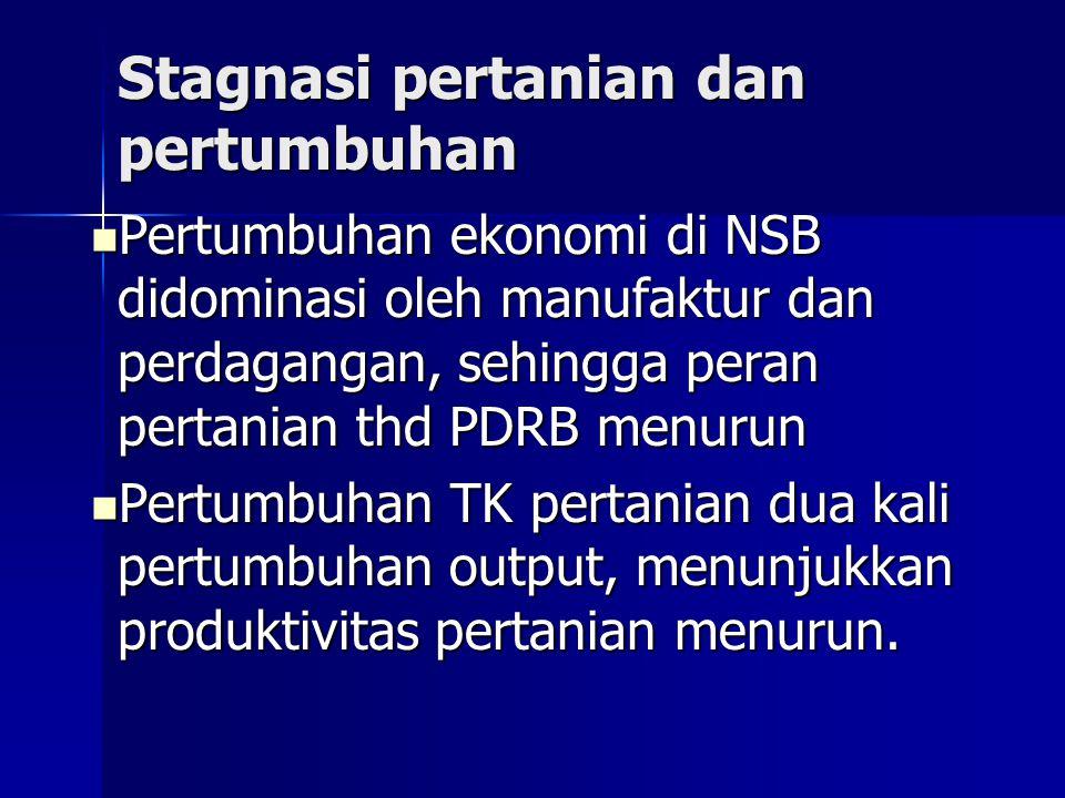 Stagnasi pertanian dan pertumbuhan Pertumbuhan ekonomi di NSB didominasi oleh manufaktur dan perdagangan, sehingga peran pertanian thd PDRB menurun Pe